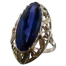 14K Russian Synthetic Color Change Sapphire Cocktail Ring Sz 7 1/4