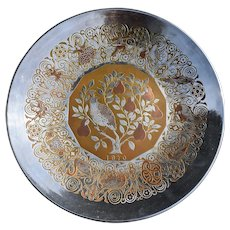 1970 Reed & Barton Damascene  Partridge in a Pear Tree Christmas Plate