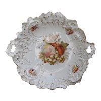 R.S. Germany Porcelain Cake Plate Fruit Pattern Gilt C. Tielsch & Co.