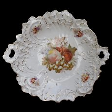 R.S. Germany Porcelain Cake Plate Fruit Pattern Gilt C. Tielsch & Co.