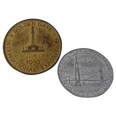 1939 Golden Gate Expo San Francisco Two Coins Tokens