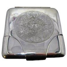 Sanborns of Mexico Sterling Cigarette Case Aztec Calendar