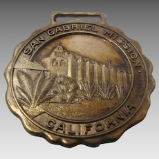 Ca 1920s San Gabriel Mission California Brass Watch Fob Commemorative