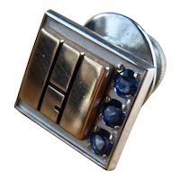 10K W & Y Gold Sapphires Tie Tack Lapel Pin Geometric