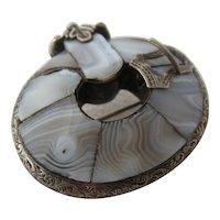 Victorian Scottish Sterling Domed Garter Pin Montrose Blue Agate