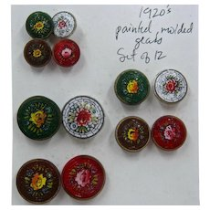 1920s Set 12 Czech Glass Buttons Hand Painted Roses