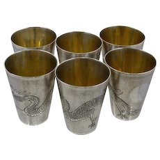 Set 6 Chinese Export Silver Beakers Shot Cups w/ Dragons