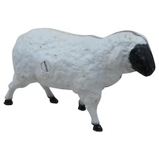 Vintage Cast Iron Sheep Still Bank Black Faced