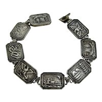Chinese Export Silver Pictorial Links Bracelet C.G. Shei