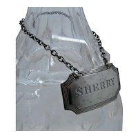 1945 English Sterling Sherry Wine Liquor Bottle Tag