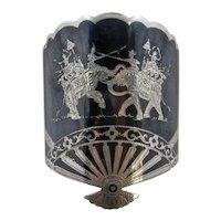 "Large Siam Sterling Niello Cuff Bracelet Elephants 7 1/4"""