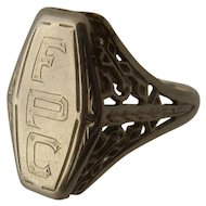 14K White Gold Filigree Signet Initial Ring Ca 1920 Sz 7 1/4