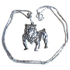 Large Cast Silver Plate Bulldog Pendant on Sterling Chain Necklace 24""