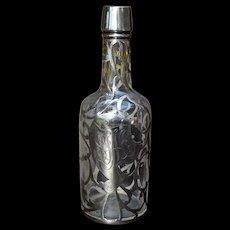 Ca 1900 Sterling Overlay Glass Whiskey Bottle Back Bar