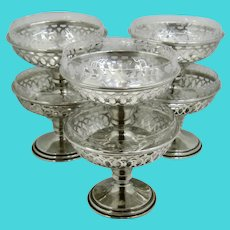 Set 6 Meriden Sterling Holders w/ Etched Crystal Sherbet Dessert Dishes