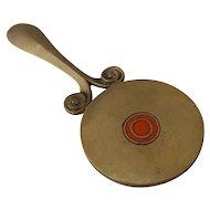 Arts & Crafts Small Hand Mirror Bronze Champlevé Enamel
