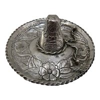 Early Mexican 900 Silver Sombrero Trinket Dish Floral Snake Motif