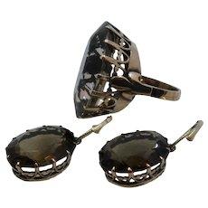 Huge 14K Smoky Quartz 42 Carat Cocktail Ring & Earrings Set