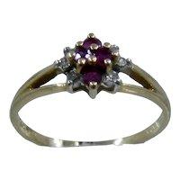 14K Ruby Diamonds Flower Cluster Ring Sz 6 1/4