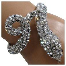 "Dazzling Snake Clamper Bracelet Pavé Rhinestones Sz 6"""
