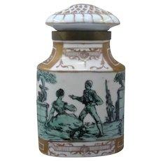 Spanish Porcelain Caddy or Dresser Jar Hand Painted w/ Brass Mounts