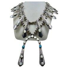 Unique Navajo Squash Blossom Necklace Flatware Handles Turquoise MOP
