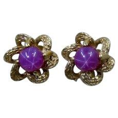 14K Star Ruby Flower Stud Earrings 1960s