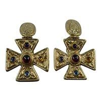14K Cabochon Stones Maltese Cross Dangle Earrings Omega Back