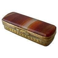 English Gilt Brass Banded Agate Snuff Box Late 1800s