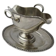 1920s Alexander Strum 800 Silver Gravy Boat w/Undertray