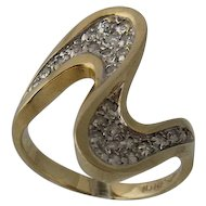 Dramatic 14K Diamonds Double Swoosh Ring VIP Size 6.5