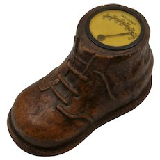 Ca 1930s Syroco Baby Shoe w/ Thermometer Paperweight