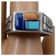 Navajo Tèmè Sterling Inlay Stones Ring Sz 11