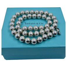 """Tiffany Sterling 10mm Bead Necklace w/ Box 18"""""""