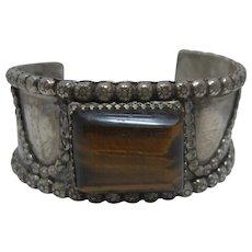 Vintage Chunky  800 Silver Tiger Eye Cuff Bracelet Sz 6 1/2