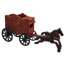 Vintage Cast Iron Horse Drawn Circus Wagon