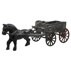 1930s AC Williams Cast Iron Horse Drawn Coal Wagon