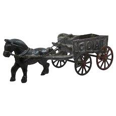 1930s AC Williams Cast Iron Horse Drawn Coal Wagon