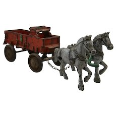 1930s Arcade Cast Iron Horse Drawn Farm Wagon