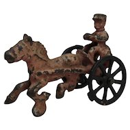 Antique Cast Iron Policeman Horse Drawn Toy Police Chief