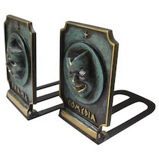 Mid Century Israeli Patinated Brass Tragedy Comedy Bookends Dayagi