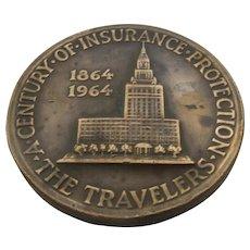 1964 Travelers Insurance Commemorative Bronze Coin 100 Year Anniversary