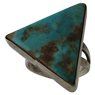Navajo Sterling Turquoise Triangle Shaped Ring Sz 5 1/2