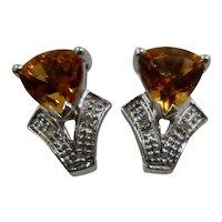 14K WG Trillion Cut Citrine Earrings w Diamonds Post