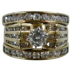 14K/10K Triple Ring Center & Channel Set Diamonds 3 TCW Sz 8 1/4