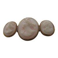 Rare Ca. 1900 Triple Cameo Pin Brooch 14k Three Women