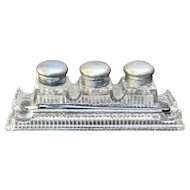 Triple Crystal Inkwells Stand w/ Pen Rest Early 1900s