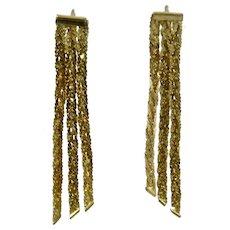 14K YG Triple Dangle Earrings