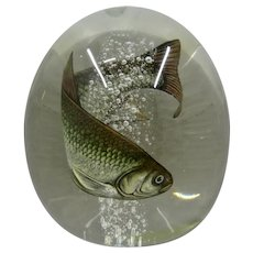 Toan Klein Rainbow Trout Fish Paperweight Gato Glass