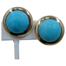 Large 14K Domed Turquoise Button Earrings 22mm